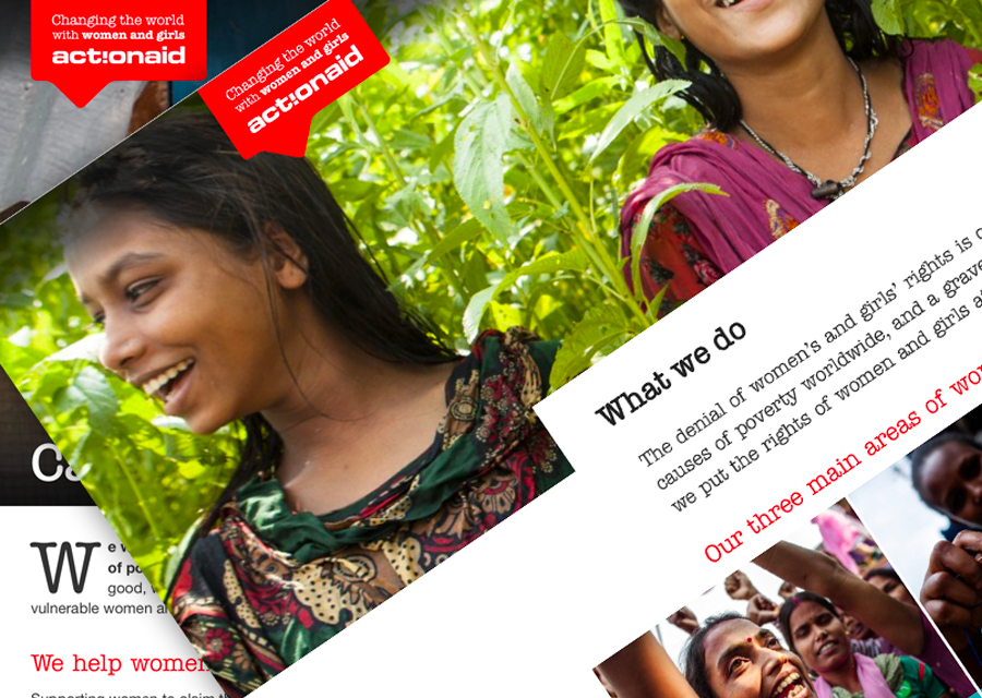 Pic showing a montage of ActionAid webpages