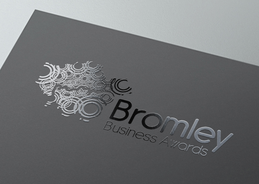 Pic of SPOT UV logo treatment on brochure cover for Bromley Business Awards
