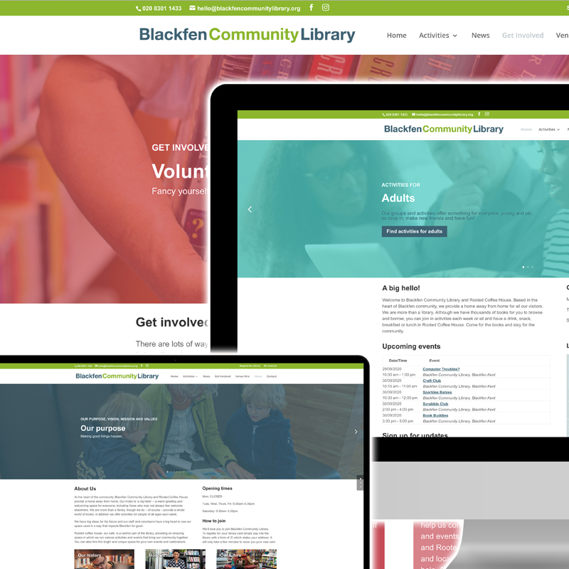 Pic showing the Blackfen Community Library website displaying on several computers