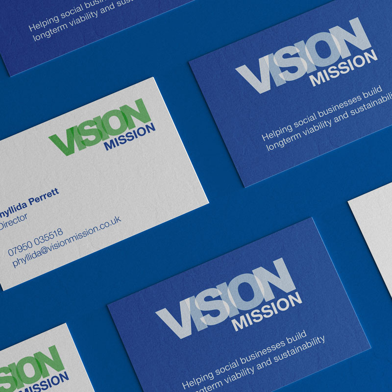 Pic showing an array of Vision Mission business cards