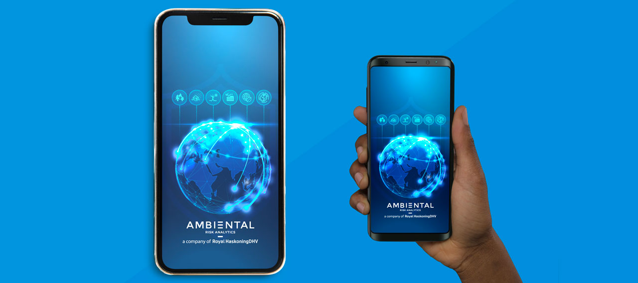 Pic showing the Ambiental Risk Analytics screensaver on two mobile devices
